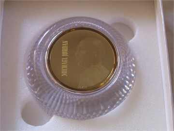 Michael Jordan Silver Collection coin or medallion in glass base (RARE PROTOTYPE)