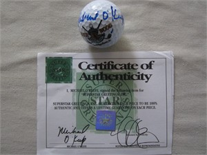 Michael O'Keefe autographed Caddyshack Bushwood Country Club logo golf ball (Superstar Greetings)