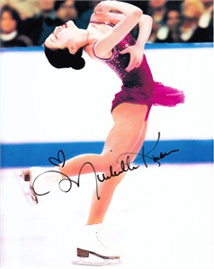 Michelle Kwan autographed 8x10 ice skating photo (layback spin)