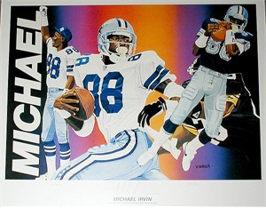 Michael Irvin autographed Dallas Cowboys lithograph by Vernon Wells #311/750
