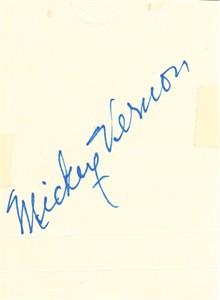 Mickey Vernon autographed 3x4 inch cut signature (JSA)