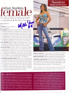 Milka Duno autographed magazine photo