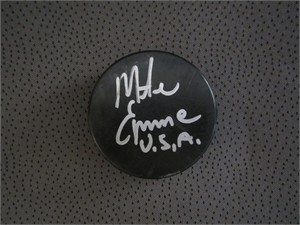 Mike Eruzione (Miracle on Ice) autographed hockey puck inscribed U.S.A.