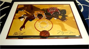 Michael Jordan & Magic Johnson autographed 16x20 poster size photo framed UDA