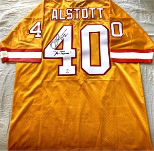 Mike Alstott autographed Tampa Bay Buccaneers 1996 rookie orange stitched jersey