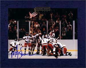 Mike Eruzione autographed 1980 Miracle on Ice USA Olympic Hockey celebration 8x10 photo