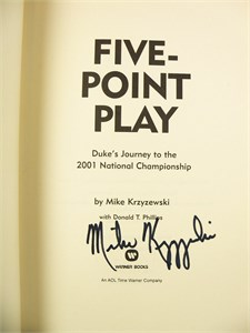 Mike (Coach K) Krzyzewski autographed Duke 2001 National Championship Five Point Play book inscribed Follow Your Heart!