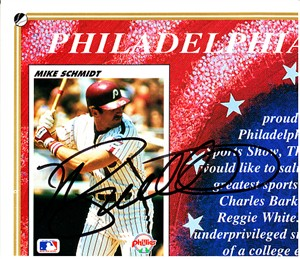 Mike Schmidt autographed Philadelphia Phillies 1992 Upper Deck cut card sheet