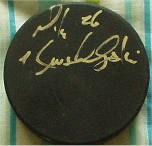 Mike Krushelnyski autographed hockey puck