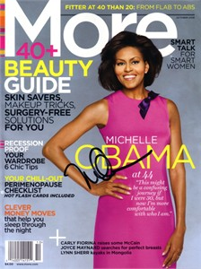 First Lady Michelle Obama autographed 2008 More magazine