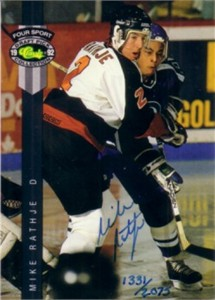 Mike Rathje certified autograph 1992 Classic hockey card