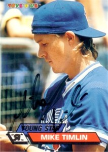 Mike Timlin autographed Toronto Blue Jays 1993 Toys R Us card