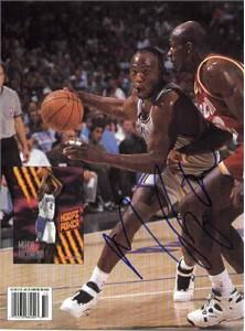 Mitch Richmond autographed Sacramento Kings Beckett Basketball back cover photo