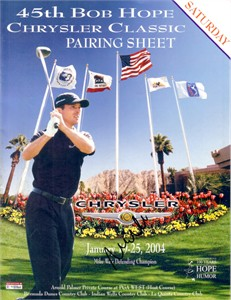 Mike Weir autographed 2004 Bob Hope Chrysler Classic pairings guide