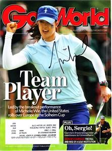Michelle Wie autographed 2009 Solheim Cup Golf World magazine