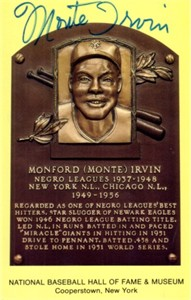 Monte Irvin autographed Baseball Hall of Fame plaque postcard
