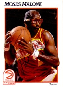 Moses Malone autographed Atlanta Hawks 1991-92 Hoops card