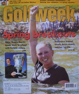 Morgan Pressel autographed 2007 Golfweek magazine