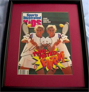 Monica Seles autographed Sports Illustrated for Kids cover matted & framed