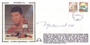 Muhammad Ali autographed 1990 Gateway cachet oversized envelope