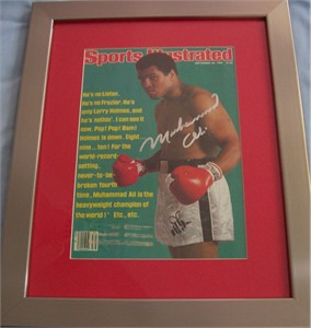 Muhammad Ali autographed 1980 Sports Illustrated cover matted & framed