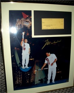 Muhammad Ali autographed 1996 Olympic Torch 16x20 poster size photo matted & framed with check ltd. edit. 1996