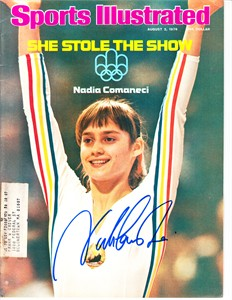 Nadia Comaneci autographed 1976 Olympics Sports Illustrated (full name signature)