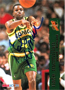 Nate McMillan autographed Seattle Supersonics 1995-96 Hoops card