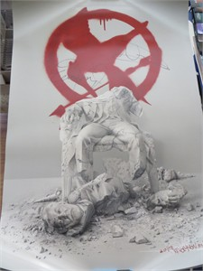 Hunger Games Mockingjay Part 2 movie poster autographed by Natalie Dormer & Evan Ross