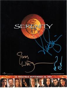Nathan Fillion Alan Tudyk Joss Whedon autographed Serenity 2005 8x11 cast photo