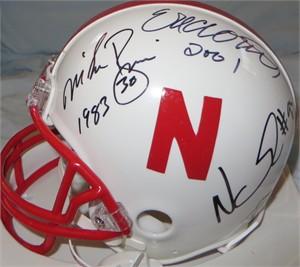 Eric Crouch Tom Osborne Johnny Rodgers Mike Rozier Ndamukong Suh autographed Nebraska Cornhuskers mini helmet
