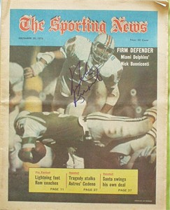 Nick Buoniconti autographed Miami Dolphins 1973 Sporting News