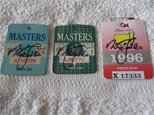 Nick Faldo autographed 1989 1990 1996 Masters golf badge set