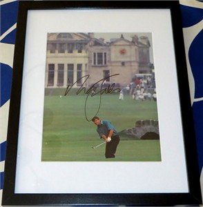 Nick Faldo autographed 1990 Open Championship golf magazine photo matted & framed