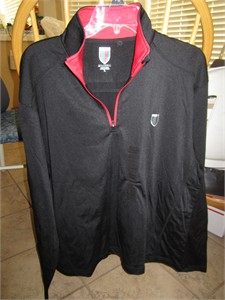 Nick Faldo Claret and Green Collection black fleece pullover golf jacket BRAND NEW WITH TAGS