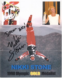 Nikki Stone autographed freestyle skiing 8x10 promotional photo