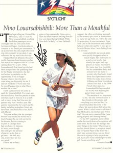 Nino Louarsabishbili autographed tennis magazine page