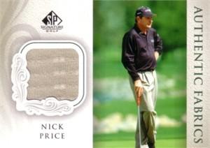 Nick Price 2004 SP Signature golf Authentic Fabrics tournament worn shirt card