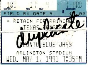 Nolan Ryan 7th No-Hitter May 1 1991 Rangers vs. Blue Jays ticket stub (torn in half)