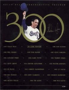 Nolan Ryan autographed Texas Rangers 300th Win commemorative program