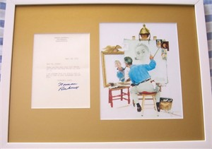 Norman Rockwell autographed 1972 letter matted & framed with self-portrait print