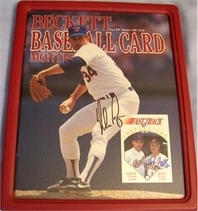 Nolan Ryan & Bob Feller autographed Beckett Baseball magazine framed