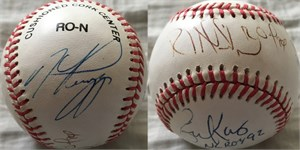 Mike Piazza Eric Karros Raul Mondesi Hideo Nomo autographed NL baseball