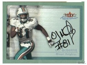 O.J. McDuffie certified autograph Miami Dolphins Autographics card
