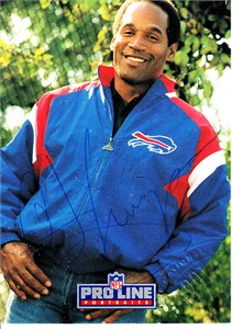 O.J. Simpson certified autograph Buffalo Bills 1991 Pro Line National Convention card