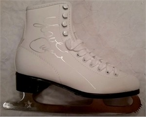 Oksana Baiul autographed white leather CCM figure skate