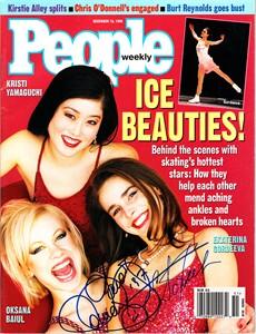 Oksana Baiul & Ekaterina Gordeeva autographed Ice Skating 1996 People magazine