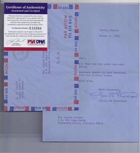 Olivia de Havilland autographed typed 1983 letter with envelope (PSA/DNA)