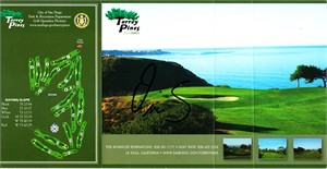 Ollie Schniederjans autographed Torrey Pines golf scorecard
