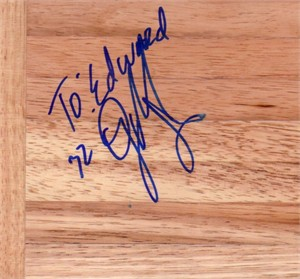 O.J. Mayo autographed basketball hardwood floor (to Edward)